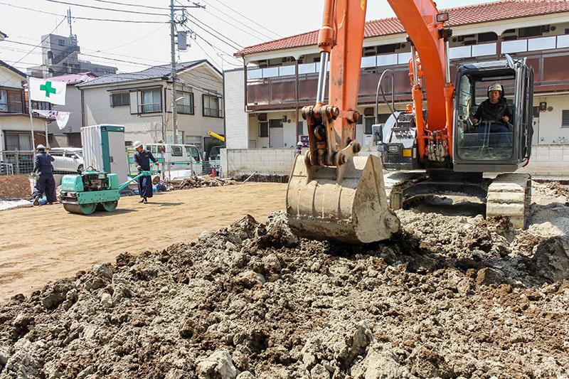 表層地盤改良工法 施工例